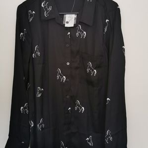 New bnwt dotti blouse with horse print